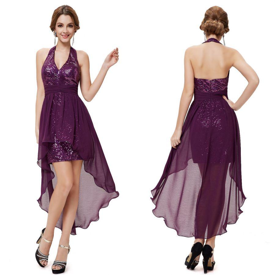 fcd15dab110 fialové sexy společenské šaty za krk - plesové šaty